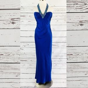 Cache 100% silk long formal blue beaded halter